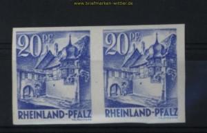 franz. Zone Rheinland-Pfalz Mi # 7 U waagerechtes Paar postfrisch (28059)