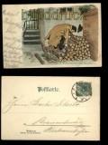 Nächtlicher Heimgang farb-Litho-AK Lith. Artist Anstalt München Serie XVI Nr. 16985 (d5555)