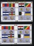 UNO Genf 3 x Mi # 743/50 Klbg. Flaggen und Münzen postfrisch und 1 x gestempelt (29761)