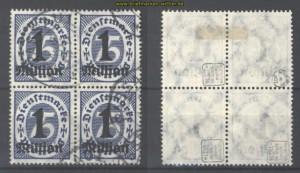 dt. Reich Dienst Mi #  96 4er-Block gestempelt geprüft Infla Berlin (30381)
