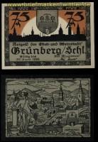 Grünberg in Schlesien 75 Pfennig Notgeld 1922 kassenfrisch (30631)