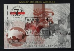 Jersey Mi # Block 96 50 Jahre internationaler Finanzplatz Jersey postfrisch (30755)