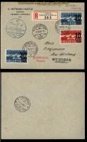 Schweiz Flugpost 4. int. Flugmeeting Zürich 1937 Mi # 291 und 2 x Mi # 292 Zürich - Sion (31228)