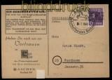 all. Besetzung Bi-Zone Mi # 37 I K EF auf Drucksachenkarte Aachen (31827)