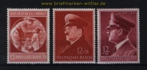 dt. Reich Mi # 744, 772 x und 813 y postfrisch Geburtstagsmarken (32195)