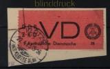 DDR Dienstmarken D Mi # 1 A gestempelt auf Briefstück Vertrauliche Dienstsache (32130)