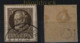 Bayern Dienst Mi # 12 gestempelt Briefstück geprüft Dr. Helbig BPP (32601)