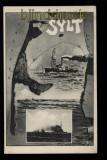 Insel Sylt sw-AK Inselsilhouette mit Kriegsschiffen ungebraucht (d5771)