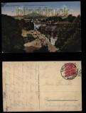 Bad Salzbrunn farb-AK Kurpromenade mit Elisenhalle 1921 (d5815)