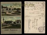 Lázné Mlazovice farb-AK 2 Ansichten K.K. Feldpost 1917 (a1046)