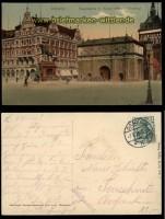 Danzig farb-AK Hauptwache mit Kaiser Wilhelm Denkmal 1911(d5835)