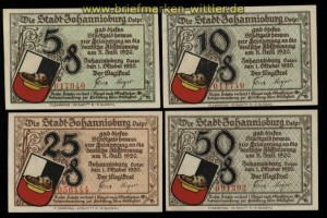 Johannisburg Ostpreussen 4 Notgeldscheine 1920 kassenfrisch (34114)