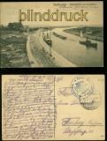 Danzig sw-AK Neufahrwasser Hafeneinfahrt mit Leuchtturm Feldpost 1917 (d6010)