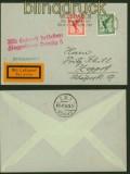 dt. Reich Mi # 378 und 379 auf Luftpost-Drucksachenbrief nach Zoppot 1927 (40400)