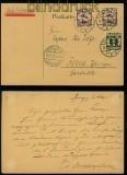 Danzig Mi #  67 X (2) und 71 MiF auf Flugpostkarte Danzig 1922 (40175)