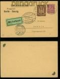 dt. Reich Privat-GSK PP 73 A2/02 Berlin Luftpost 30.6.1923 nach Danzig (40186)