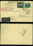 Ungarn Mi # 695 und 657 auf Auslands-LuPo-R-Brief 1942 (40323)