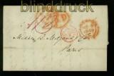 Großbritannien 1849 Brief von Liverpool nach Paris barfrankiert (41200)