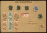 SBZ Bezirkshandstempel  16 Mi # 166 III MiF 10fach Frankatur R-Brief Weimar (34534)
