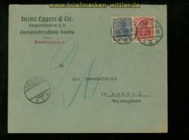 Danzig Vorläufer Mi # 86 II und 87 II Ortsbrief Danzig 1920 Nachporto (34996)