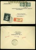 Danzig Mi # 292 y (2) und 307 MiF auf Orts-R-Brief Danzig 1939 (35001)