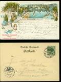 Dresden farb-Litho-AK Gruss aus dem Schillergarten Blasewitz 1898 (d5887)