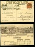 dt. Reich Mi # 141 EF auf Firmenpostkarte mit Perfin E & v S HAMBURG (35322)
