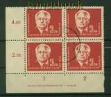 DDR Mi #  254 gestempelt 2 DM Wilhelm Pieck im 4er-Block mit Druckerzeichen (35437)