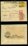 Estland Mi # 13 und 16 (2) auf Auslands-R-Zensur-Brief TARTU 26.11.1921 (35521)