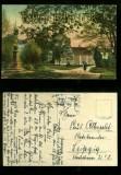 CÖTHEN in Anh. farb-AK Schlossgarten mit naumann-Denkmal 1920 (d0091)