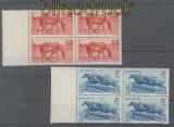 Saarland Mi # 265/66 postfrische 4er-Blöcke Tag des Pferdes 1949 (42616)