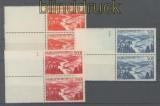 Saarland Mi # 252/54 L postfrische senkrechte Paare Flugpostmarken (42611)