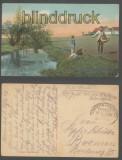 V. Myhre farb-AK Küntlerkarte Saedemanden Bahnpost Feldpost 1916 (d6989)