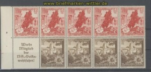 dt. Reich Heftchenblatt Mi # 112 B Winterhilfswerk 1938 postfrisch (35810)