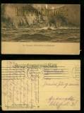 Deutsche Schlachtfotte im Auslaufen sw-AK Kriegserinnerungskarte Feldpost 1914 (d6505)