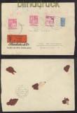 Bi-Zone Bauten Mi # 90 wg (2) und # 94 wg Wertbrief KARLSRUHE 1951 (42737)