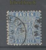 Baden Mi #  14 gestempelt 6 Kreuzer blau (42884)