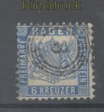 Baden Mi #  19 gestempelt 6 Kreuzer blau (42886)