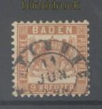 Baden Mi #  20 gestempelt 9 Kreuzer braun (42887)