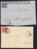 Bayern zwei Briefe mit EF Mi # 2 II und Mi # 9 Mühlradstempel 598 (36020)