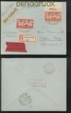 Danzig Mi # 135 und 137 Luftpost-Eilboten-R-Brief Danzig-Langfuhr 1923 (43739)
