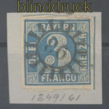 Bayern Mi #   2 II mit Nummernstempel 93 Fremdingen auf Briefstück (44533)