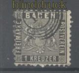 Baden Mi #  13 gestempelt 1 Kreuzer schwarz (44411)