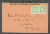 dt. Besetz. Kanalinsel Jersey Mi # 1 waagerechtes Paar auf Ersttagsbrief FDC (43053)