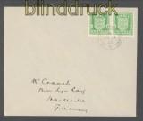 dt. Besetz. Kanalinsel Jersey Mi # 1 waagerechtes Paar auf Ersttagsbrief FDC (43054)
