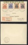 Polen Mi # 130/34 auf Orts-R-Brief Posen 1919 (44621)