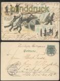 Feuerwehr farb-Litho-AK Gruss aus Dessau drei Feuerwehr-Motive 1898 (d7336)