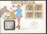 Schweiz Mi # 1284 Pipi Langstrump 4er-Block auf Numisbrief Silber (44856)