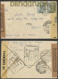 Spanien Auslands-Zensur-Brief La Escala 1944 Doppel-Zensur in die USA (45032)
