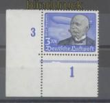 dt. Reich Mi # 539 y postfrisch waagerechte Gummiriffelung Eckrandmarke unten links (45304)